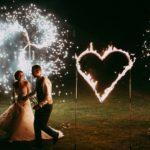 nevěsta a ženich, svatební den, fire show na svatbu